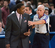 Isiah Thomas speaks with referee Dick Bavetta after the brawl between the Knicks and the Nuggets at Madison Square Garden in New York, Saturday, Dec. 18, 2006. NBA scoring leader Carmelo Anthony was suspended for 15 games Monday and six other players were penalized as commissioner David Stern came down hard on both teams after the Nuggets and Knicks brawled at Madison Square Garden. Stern fined each organization $500,000. But there was no separate penalty for Knicks coach Isiah Thomas, who had warned Anthony not to go into the lane before the mayhem started Saturday night. (Andrew Gombert for The New York Times)