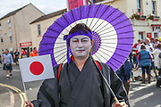 Japan fan during the Rugby World Cup Pool B match between Scotland and Japan at the Kingsholm Stadium, Gloucester, United Kingdom on 23 September 2015. Photo by Shane Healey.