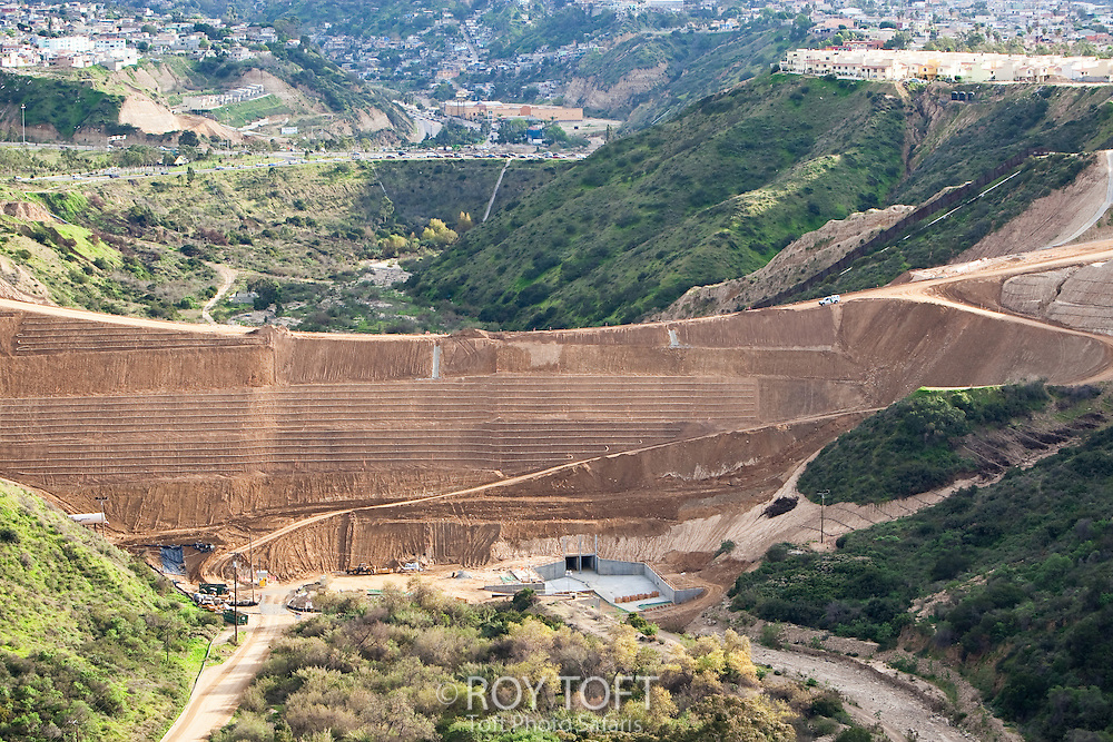 Border Wall Construction between U.S. and Mexico near San Diego, California