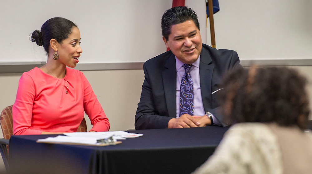 Houston ISD superintendent Richard Carranza and trustee Wanda Adams meet with members of the Southeast Coalition of Civic Clubs at Houston Community College South as part of the superintendent's Listen and Learn Tour, October 6, 2016.