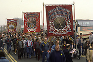 Houghton Main, Barrow and Dearne Valley Branch Banners on a Yorkshire Area NUM march in Barnsley.