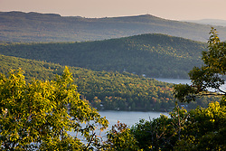 Merrymeeting Lake as seen from Caverly Mountain in New Durham, New Hampshire.