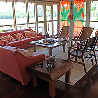 South America, Brazil, Pantanal.  Interior of the main lodge and dining room of Cordilheira Lodge (6 rooms and 2 suites) at the Caiman Ecological Reserve.