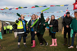 UK ENGLAND 30JUL17 - Oxfam volunteers cheer on arriving hikers at checkpoint 9 during the Trailwalker 2017 challenge across the South Downs, England.<br /> <br /> jre/Photo by Jiri Rezac<br /> <br /> © Jiri Rezac 2017