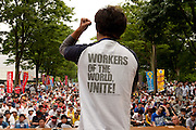 Left wing and student activists gather and campaign in Yoyogi Park during a protest rally organised by left wing groups and Doro Chiba union. Tokyo, Japan Sunday June 14th 2009