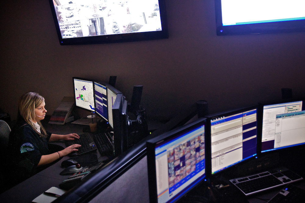Hillory Wichman fields a 9-1-1 call Wednesday in the dispatch center at the Post Falls Police Department.