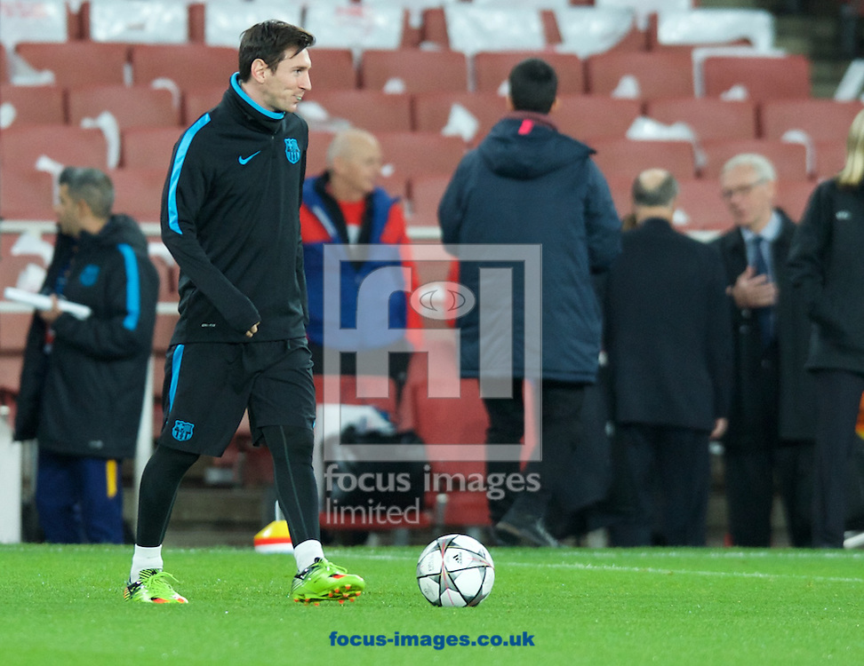 Lionel Messi of Barcelona during the Barcelona training session at the Emirates Stadium, prior to their Champions League match against Arsenal tomorrow. London, England.<br /> Picture by Alan Stanford/Focus Images Ltd +44 7915 056117<br /> 22/02/2016