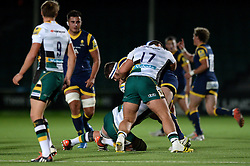 Joe White (Luctonians RFC) of Worcester Cavaliers is challenged by Derrick Appiah of Worcester Cavaliers - Mandatory by-line: Dougie Allward/JMP - 19/09/2016 - RUGBY - Sixways Stadium - Worcester, England - Worcester Cavaliers v Northampton Wanderers - Aviva A League