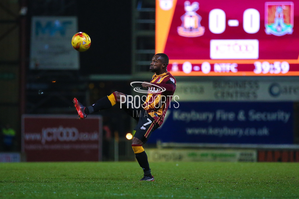 Bradford City midfielder Mark Marshall (7)  controls the ball during the EFL Sky Bet League 1 match between Bradford City and Northampton Town at the Coral Windows Stadium, Bradford, England on 22 November 2016. Photo by Simon Davies.