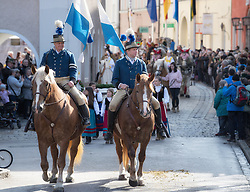02.04.2018, Traunstein, GER, Georgi Ritt Traunstein 2018, im Bild Postillion Fähnlein // during the traditionell Georgi Ritt on Easter Monday in. in Traunstein, Germany on 2018/04/02. EXPA Pictures © 2018, PhotoCredit: EXPA/ Erst Wukits