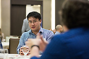 Nick Chan socializes at the Silicon Valley Business Journal's Deisgn Thinking Lab at the Four Seasons Hotel in East Palo Alto, California, on November 15, 2018. (Stan Olszewski for Silicon Valley Business Journal)
