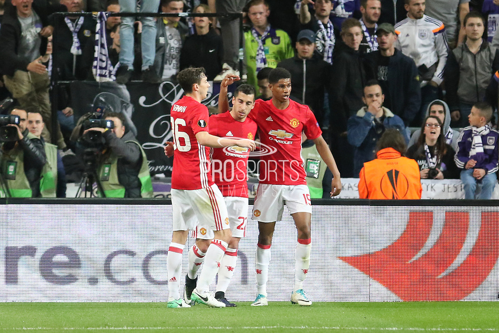 Henrikh Mkhitaryan Midfielder of Manchester United celebrates his goal 0-1 during the UEFA Europa League Quarter-final, Game 1 match between Anderlecht and Manchester United at Constant Vanden Stock Stadium, Anderlecht, Belgium on 13 April 2017. Photo by Phil Duncan.