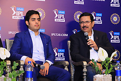 December 18, 2018 - Jaipur, Rajasthan, India - Mumbai Indians owner Akash Ambani (L) and CEO Kolkata Knight Riders (KKR) Venky Mysore (R) speak at a press conference for the Indian Premier League 2019 auction in Jaipur on December 18, 2018, as teams prepare their player rosters ahead of the upcoming Twenty20 cricket tournament next year. The 2019 edition of the IPL -- one of the world's most-watched sporting events attracting the world's top stars -- is set to take place in April and May next year.(Photo By Vishal Bhatnagar/NurPhoto) (Credit Image: © Vishal Bhatnagar/NurPhoto via ZUMA Press)