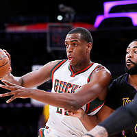 27 February 2015: Milwaukee Bucks guard Khris Middleton (22) passes the ball during the Los Angeles Lakers 101-93 victory over the Milwaukee Bucks, at the Staples Center, Los Angeles, California, USA.