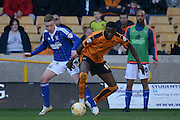 Wolverhampton Wanderers defender Dominic Iorfa and Ipswich Town striker Freddie Sears watch the ball during the Sky Bet Championship match between Wolverhampton Wanderers and Ipswich Town at Molineux, Wolverhampton, England on 2 April 2016. Photo by Alan Franklin.