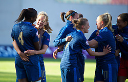 LLANELLI, WALES - Saturday, August 31, 2013: France players celebrate after beating England 2-0 during the Final of the UEFA Women's Under-19 Championship Wales 2013 tournament at Parc y Scarlets. (Pic by David Rawcliffe/Propaganda)