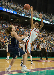 Virginia forward Lyndra Littles (1) is fouled by Georgia Tech forward Brigitte Ardossi (35).  The #4 seed/#25 ranked Virginia Cavaliers women's basketball team defated the #5 seed Georgia Tech Yellow Jackets 52-43 in the quarterfinals of the 2008 ACC Women's Basketball Tournament at the Greensboro Coliseum in Greensboro, NC on March 7, 2008.