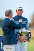 Former Scotland rugby captain, Andy Nicol (left) interviews winner Bernd Wiesberger (AUT) after the play-off, of the Aberdeen Standard Investments Scottish Open at The Renaissance Club, North Berwick, Scotland on 14 July 2019.