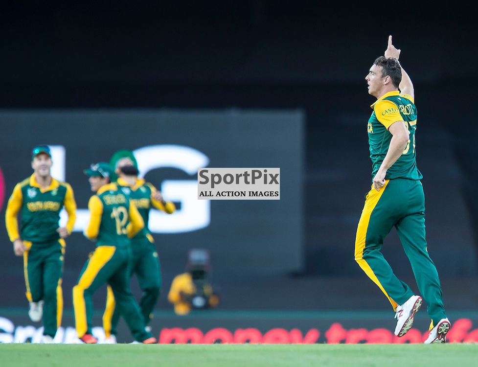 ICC Cricket World Cup 2015 Tournament Match, South Africa v West Indies, Sydney Cricket Ground; 27th February 2015<br /> South Africa&rsquo;s Kyle Abbott reacts after taking the wicket of West Indies Marlon Samuels