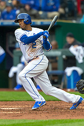 March 29, 2018 - Kansas City, MO, U.S. - KANSAS Kansas City, MO - MARCH 29: Kansas City Royals shortstop Alcides Escobar (2) at bat during the major league opening day game against the Chicago White Sox on March 29, 2018 at Kauffman Stadium in Kansas City, Missouri. (Photo by William Purnell/Icon Sportswire) (Credit Image: © William Purnell/Icon SMI via ZUMA Press)