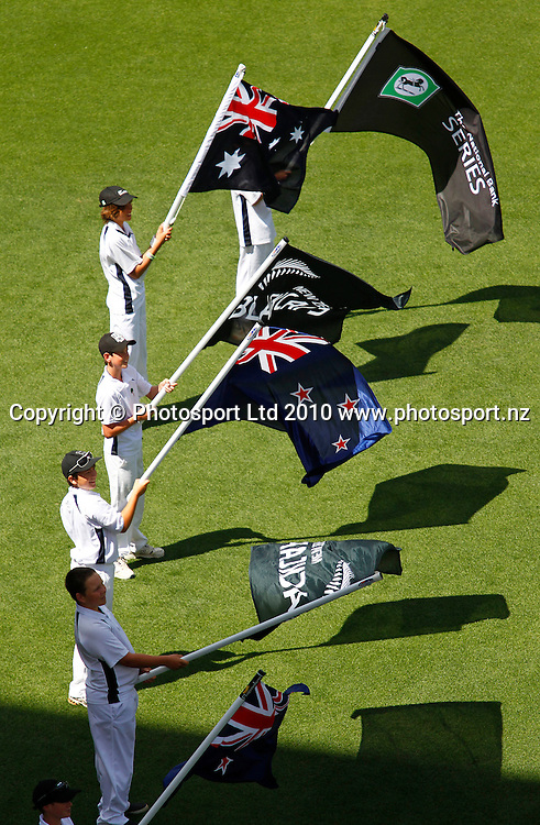 Flag bearers. 4th one day international. New Zealand Black Caps versus Australia one day Chappell Hadlee cricket series. Eden Park, Auckland, New Zealand. Thursday 11 March 2010. Photo: Simon Watts/PHOTOSPORT