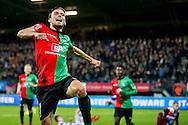 NIJMEGEN, NEC - De Graafschap, voetbal, Eredivisie seizoen 2015-2016, 7-11-2015, Stadion De Goffert, NEC speler Christian Santos (L) heeft de 2-0 gescoord.