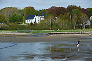 View to St. Marks Church (nearest and Broad Cove United Church from the beach at Broad Cove, Nova Scotia, Canada,