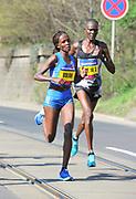 Violah Jepchumba (KEN) places second in the women's race in 1:05:22 in the Prague Half Marathon in Prague, Czech Republic on Saturday, April 17, 2017. (Jiro Mochizuki/IOS)