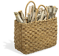 Wicker tote bag of logs on white background