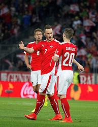 30.05.2014, Tivoli Stadion, Innsbruck, AUT, Fussball Testspiel, Oesterreich vs Island, im Bild (v.l.) Stefan Ilsanker (AUT), Marko Arnautovic (AUT) gratulieren Marcel Sabitzer (AUT) zu seinem Treffer zum 1:0 // Stefan Ilsanker (AUT) Marko Arnautovic (AUT) and Marcel Sabitzer (AUT) celebrate after Marcel Sabitzer (AUT) score to the1:0 during the International Friendly between Austria and Iceland at the Tivoli Stadion in Innsbruck, Austria on 2014/05/30. EXPA Pictures © 2014, PhotoCredit: EXPA/ Johann Groder