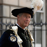 HRH The Prince of Wales wearing the elaborate costume of the Order of the Thistle, Edinburgh, Scotland<br />