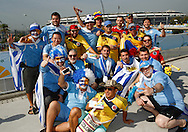 Uruguay and Colombia fans gather on the bridge outside the ground before the 2014 FIFA World Cup last 16 match at Maracana Stadium, Rio de Janeiro, Brazil.<br /> Picture by Andrew Tobin/Focus Images Ltd +44 7710 761829<br /> 28/06/2014