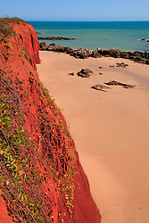 Pindan cliffs meet the beach at James Price Point on the Dampier Peninsula