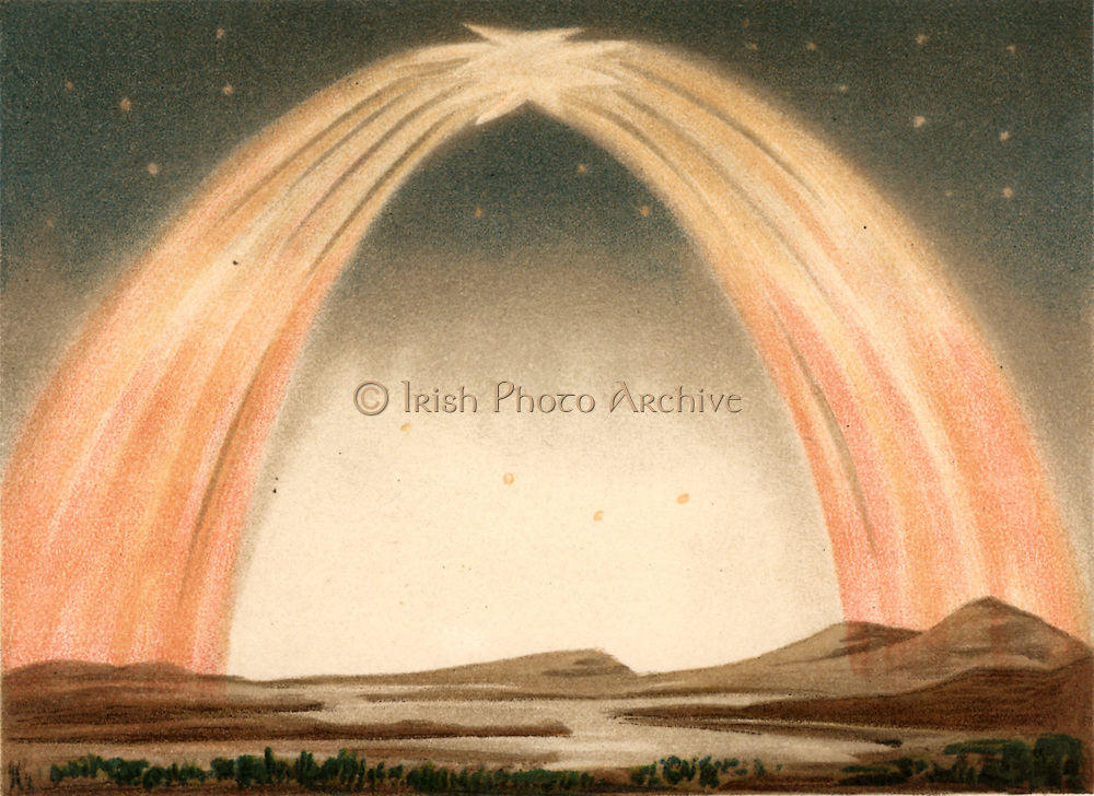 Aurora Borealis or Northern Lights observed from Guildford, Surrey, England, 14 October 1870.   Caused by high-speed particles ejected from the Sun, the aurora are most commonly observed during periods of maximum sunspots. From 'Die Naturkrafte' by M  Wilhelm Meyer (Leipzig, 1903). Chromolithograph.