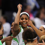 Ariel Braker, Notre Dame, celebrates with team mates  after the Connecticut V Notre Dame Final match won by Notre Dame 61-59 during the Big East Conference, 2013 Women's Basketball Championships at the XL Center, Hartford, Connecticut, USA. 11th March. Photo Tim Clayton