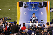 INDIANAPOLIS, IN - JANUARY 31: Tom Brady #12 of the New England Patriots answers questions during Media Day ahead of Super Bowl XLVI against the New York Giants at Lucas Oil Stadium on January 31, 2012 in Indianapolis, Indiana. (Photo by Joe Robbins) *** Local Caption *** Tom Brady