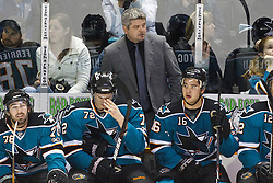 January 8, 2011; San Jose, CA, USA; San Jose Sharks head coach Todd McLellan on the bench during the first period against the Nashville Predators at HP Pavilion. Mandatory Credit: Jason O. Watson / US PRESSWIRE