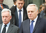 Jean-Marc Ayrault<br /> Minister of Foreign Affairs and International Development<br /> French Government leaving the County Hall Hotel, Southbank, London, Great Britain <br /> 23rd March 2017 <br /> Alan Duncan MP with <br /> Jean-Marc Ayrault<br /> <br /> <br /> Photograph by Elliott Franks <br /> Image licensed to Elliott Franks Photography Services