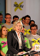© under license to London News Pictures. LONDON, UK  03/05/2011. Theresa May addresses the rally. William Hague, Lord Owen, Theresa May, Paul Boateng, John Healey and James Cracknell at a rally urging support for a NO vote held at The Methodist Hall in Central London this morning (03 May 2011). The Rally was to urge people to vote in favour of a NO vote at the forth coming AV Referendum. Photo credit should read Stephen Simpson/LNP.