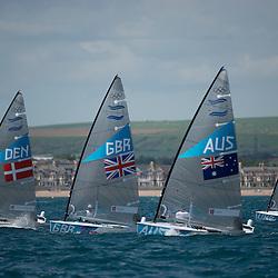 2012 Olympic Games London / Weymouth<br /> <br /> Finn practice race<br /> Finn DENHoegh-Christensen Jonas<br /> Finn AUSCasey Brendan<br /> Finn GBRAinslie Ben<br /> Finn UKRBorysov Olexsiy