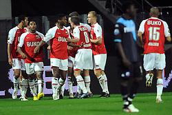 03-04-2010 VOETBAL: AZ - FC UTRECHT: ALKMAAR<br /> FC Utrecht verliest met 2-0 van AZ / Een balende Nana Asare als Mounir El Hamdaoui de 2-0 scoort<br /> ©2010-WWW.FOTOHOOGENDOORN.NL