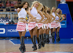 "Cheerleading group Red Foxes of Ukraine dance on Slovenian song ""Na Roblek"" of Avseniki during the EuroBasket 2009 Group F match between Slovenia and Lithuania, on September 12, 2009 in Arena Lodz, Hala Sportowa, Lodz, Poland.  (Photo by Vid Ponikvar / Sportida)"