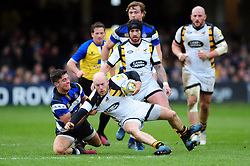 Joe Simpson of Wasps is tackled to ground by Adam Hastings of Bath Rugby - Mandatory byline: Patrick Khachfe/JMP - 07966 386802 - 04/03/2017 - RUGBY UNION - The Recreation Ground - Bath, England - Bath Rugby v Wasps - Aviva Premiership.