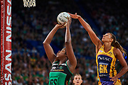 Fever GS: Jhaniele Fowler and Lightning GK: Geva Mentor.<br /> PERTH, AUSTRALIA - AUGUST 26: West Coast Fever vs the Sunshine Coast Lightning during the Suncorp Super Netball Grand Final match from Perth Arena - Sunday 26th August 2018 in Perth, Australia. (Photo by Daniel Carson/dcimages.org/Netball WA)