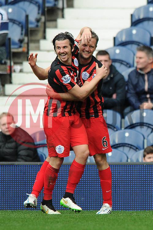 Queens Park Rangers' Joey Barton celebrates his goal with Queens Park Rangers' Clint Hill - Photo mandatory by-line: Dougie Allward/JMP - Mobile: 07966 386802 - 04/04/2015 - SPORT - Football - West Bromwich - The Hawthorns - West Bromwich Albion v QPR - Barclays Premier League