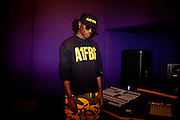 Atlanta rapper Future listens to newly laid tracks with friends in the studio at 11th Street Studios in Atlanta, Georgia August 3, 2011.