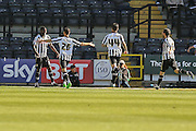 Notts County celebrate Notts County forward Izale McLeod goal during the Sky Bet League 2 match between Notts County and York City at Meadow Lane, Nottingham, England on 26 September 2015. Photo by Simon Davies.