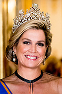 Queen Maxima of the Netherlands during State Banquet at Buckingham Palace, on the first of the 2 day state visit by the Dutch Royal Pair to the UK. Queen Maxima is wearing a rare crown, with a Stuart diamond, the Dutch Royal family inherited from King William and Queen Mary in 1702, when King William died.  copyright robin utrecht