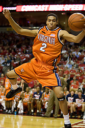 Virginia guard Mustapha Farrakhan (2) makes a sideline save against Maryland.  The Maryland Terrapins defeated the Virginia Cavaliers men's basketball team 85-75 at the Comcast Arena in College Park, MD on January 30, 2008.