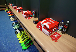 CARDIFF, WALES - Sunday, October 9, 2016: The Wales players' shirts in the dressing room before the 2018 FIFA World Cup Qualifying Group D match against Georgia at the Cardiff City Stadium. (Pic by David Rawcliffe/Propaganda)